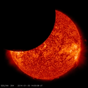 Image taken January 30th 2014 from the NASA Solar Dynamics Observatory during partial solar eclipse.